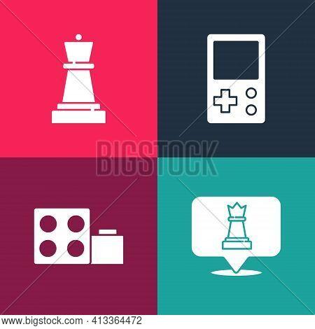 Set Pop Art Chess, Toy Building Block Bricks, Tetris And Icon. Vector
