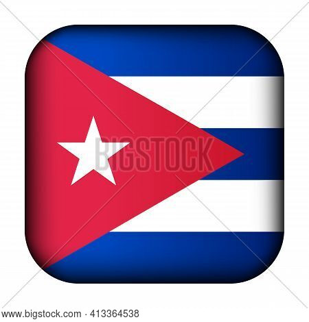 Glass Light Ball With Flag Of Cuba. Squared Template Icon. Cuban National Symbol. Glossy Realistic C