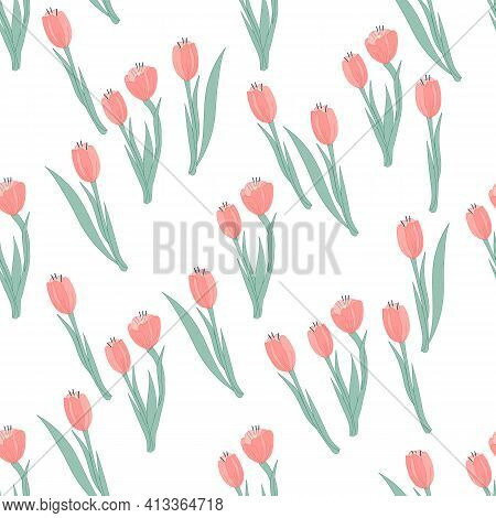 Seamless Floral Pattern With Tulips, Flat Vector Illustration On White Background. Decorative Seamle