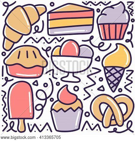 Hand Drawn With Various Dessert Food Menu