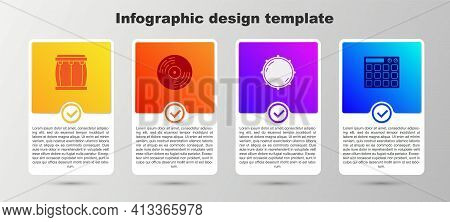 Set Drum, Vinyl Disk, Dial Knob Level And Machine. Business Infographic Template. Vector