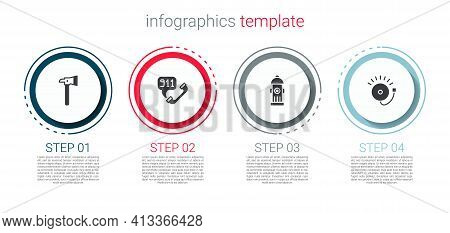 Set Firefighter Axe, Telephone Call 911, Hydrant And Ringing Alarm Bell. Business Infographic Templa