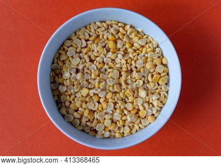 Chopped Ground Peas Soaked In A Bowl For Further Cooking