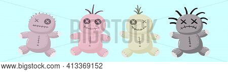 Set Of Voodoo Doll Cartoon Icon Design Template With Various Models. Modern Vector Illustration Isol