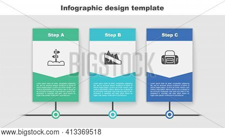 Set Road Traffic Signpost, Mountain Descent And Sport Bag. Business Infographic Template. Vector