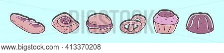 Set Of Scone Cartoon Icon Design Template With Various Models. Modern Vector Illustration Isolated O