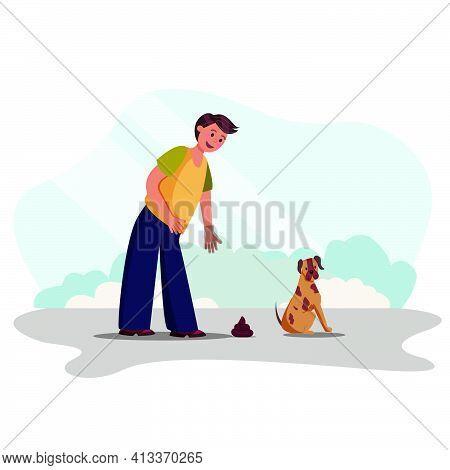 Man Cleans Feces After Her Dog Vector Illustration
