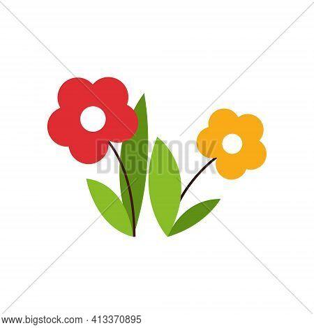 Flowers. Children S Pattern On A White Background. Vector Illustration