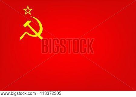Red Flag With Hammer And Sickle, Communist Symbol, Vector Illustration