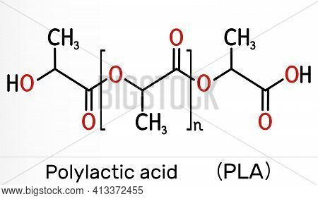 Polylactic Acid, Polylactide, Pla Molecule. It Is Polymer, Bioplastic, Thermoplastic Polyester. Skel
