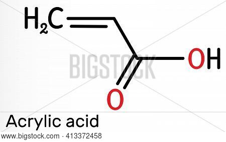 Acrylic Acid, Propenoic Acid Molecule. It Is Unsaturated Monocarboxylic Acid. Skeletal Chemical Form