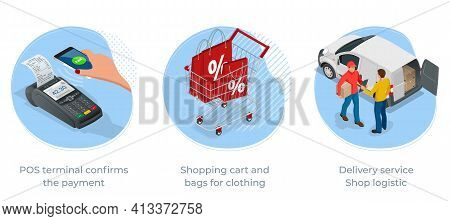 Isometric Logistics And Delivery Infographics. Delivery Home And Office. City Logistics. Online Expr