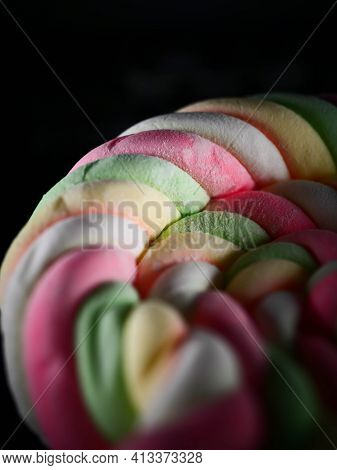Background Of Twisted, Colorful Marshmallow, Close Up, Macro