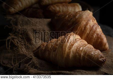 Plain Butter Croissant Crescent Pastries, Freshly Baked Croissants. Warm Fresh Buttery Croissants On