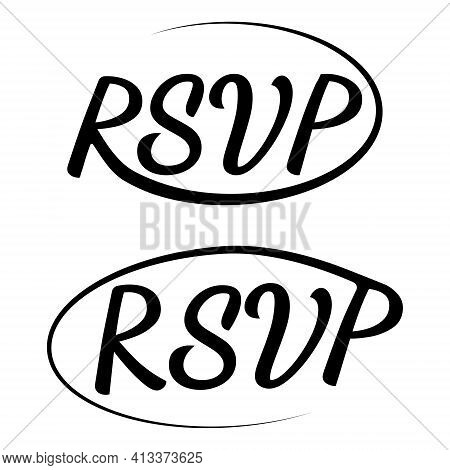 Rsvp Icon Wedding Vector Invitation Card Template Isolated Rsvp Elegant Modern Calligraphy With Swir