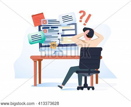 Concept Of Missing Deadline, Bad Time Management. Scene Of Tired, Nervous, Stressed Man Clutches Hea
