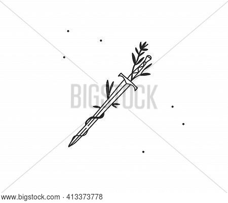 Hand Drawn Vector Abstract Stock Flat Graphic Illustration With Logo Element Line Art Of Mystic Symb