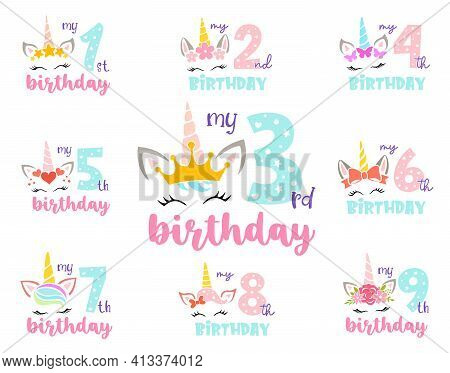 Set Of Unicorns With Numbers. Girly Birthday Design. Vector.