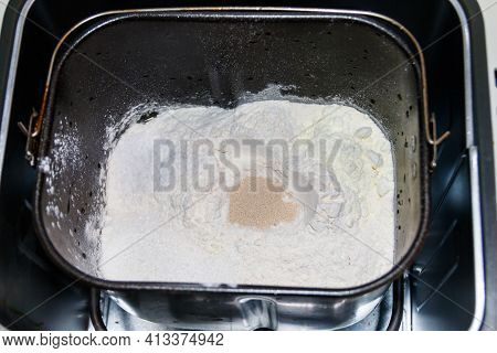Ingredients For Preparing Bread In Bread Pan Of Electric Bread Maker