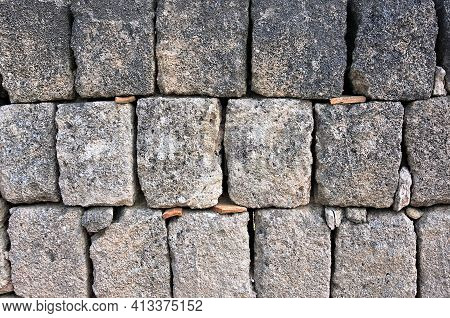 Dry Tuff Wall, Typical Construction Of Southern Italy