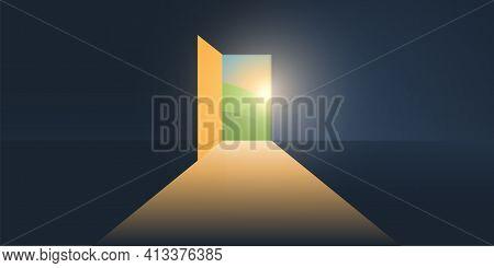Let's Go Outside - Dark Room, Light Coming In Through An Open Door - New Possibilities, Hope, Overco