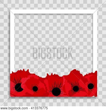 Empty Photo Frame Template With Spring Poppy Flowers For Media Post In Social Network. Vector Illust
