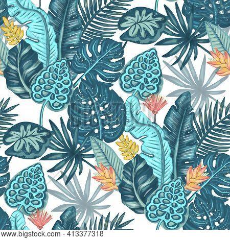 Tropical Leaves Seamless Pattern Design. Rainforest Backgroud