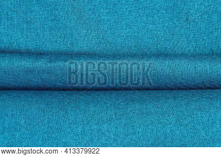 Part Of The Blue Fabric Texture. Fabric Texture For Background And Design Works Of Art, Beautiful Wr