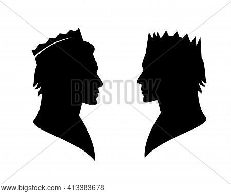 Fairy Tale King Or Prince Wearing Royal Crown - Noble Man Black And White Vector Silhouette Head Por