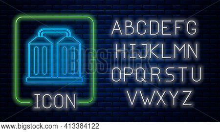 Glowing Neon Granary Icon Isolated On Brick Wall Background. Silo With Grain, Elevator, Granary, Fac
