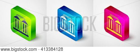Isometric Granary Icon Isolated On Grey Background. Silo With Grain, Elevator, Granary, Factory. War