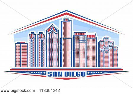 Vector Illustration Of San Diego City, Horizontal Poster With Outline Design American City Scape On