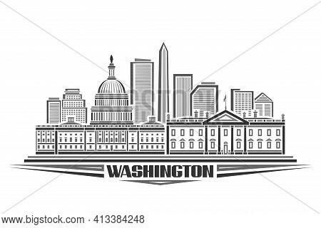 Vector Illustration Of Washington, Monochrome Horizontal Poster With Outline Design Of Washington Ci