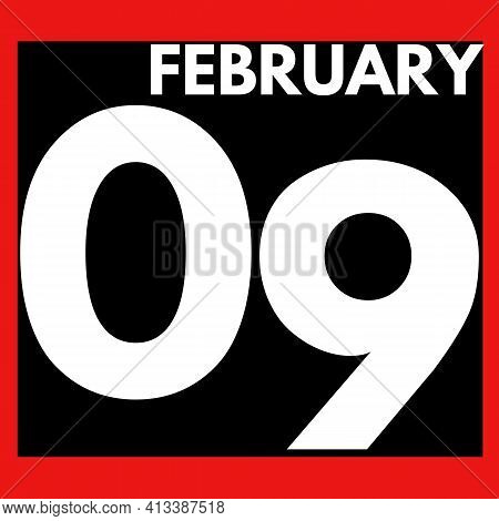 February 9 . Modern Daily Calendar Icon .date ,day, Month .calendar For The Month Of February