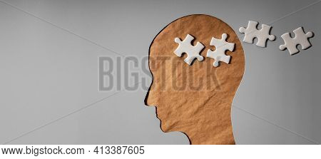 Memory Loss From Dementia Or Alzheimer Disease Concept. Brain Function Decline. Old Wrinkled Skin Fa