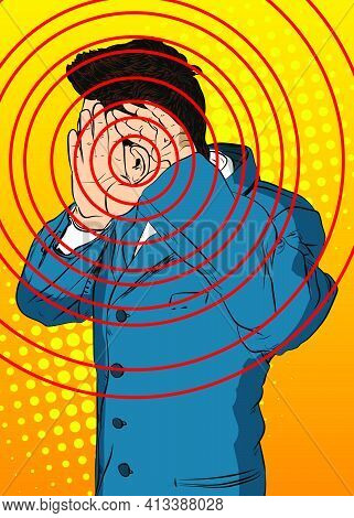 Caucasian Businessman Holding His Hands To His Ears And Listening. Comic Book Cartoon Concept Of Eav