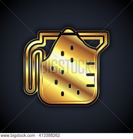 Gold Measuring Cup To Measure Dry And Liquid Food Icon Isolated On Black Background. Plastic Graduat