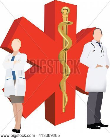 Pair Of Doctors With Medical Symbol Pair Of Doctors With Medical Symbol