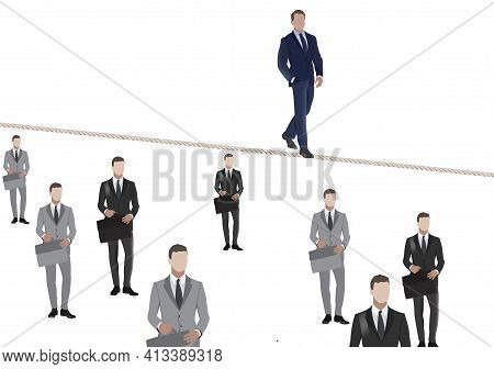 Person Walks On The Raised Rope Person Walks On The Raised Rope