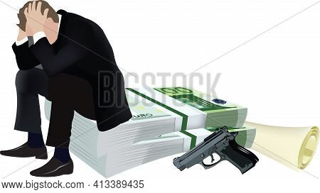 Desperate Person Sitting On The Currency Desperate Person Sitting On The Currency