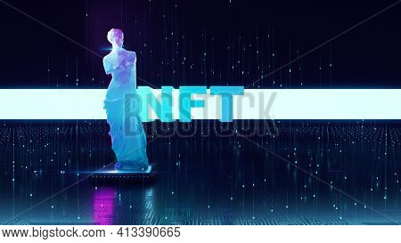 Nft Non Fungible Tokens Crypto Art On Colorful Abstract Background. Glowing Low Poly Statue Of Venus