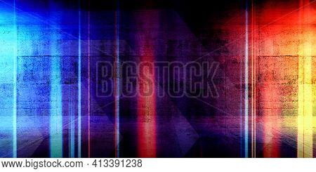 Abstract Background Texture With Colorful Glowing Blurred Lines Over Dark Concrete Background