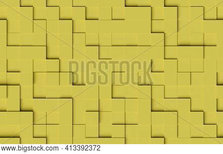 Seamless Abstract Pattern. Yellow Cubic Shapes Background. 3d Illustration.