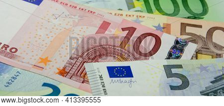 Euro Banknotes In Denominations Of Five, Ten, Twenty, Fifty, One Hundred. European Currency. Cash Mo