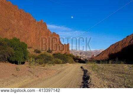 Bolivian Dirt Road View Near Tupiza,bolivia.quebrada De Palmira Area.bolivian Landscape