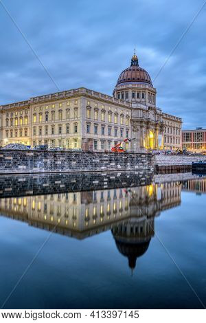 The Reconstructed Berlin City Palace At Twilight