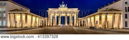 Panorama Of The Illuminated Brandenburg Gate In Berlin At Night
