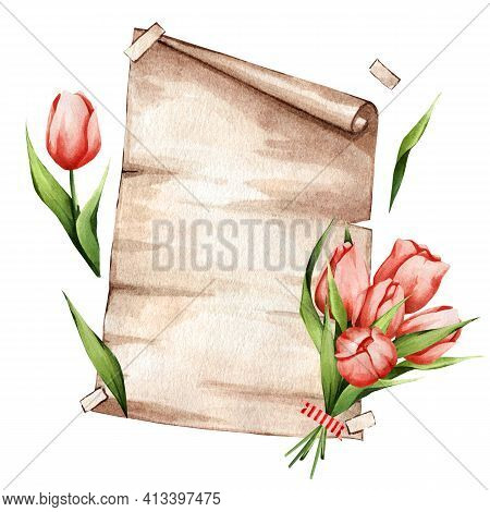 Watercolor Painted Parchment With A Bouquet Of Delicate Tulips. Craft Poster. Great For Text Decorat