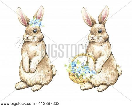 Watercolor Happy Easter Set With Baby Bunnies. Rabbit Bunny Kids Illustration Isolated On White. Han