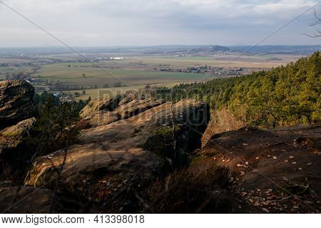 Aerial View From Drabske Svetnicky, Autumn Sandstone Landscape Of Bohemian Paradise In Sunny Day, Wi